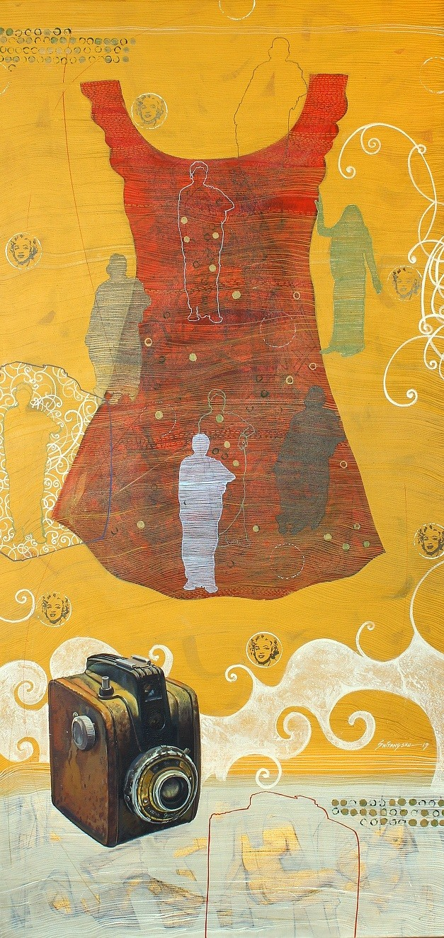 Blind Memory by Shitangshu Mondal, Expressionism Painting, Acrylic on Canvas, Old Gold color