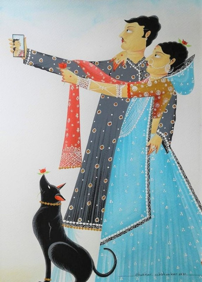 """Untitled, Watercolour & Gouache on Paper by Contemporary Artist """"In Stock"""" by Bhaskar Chitrakar, Folk Painting, Watercolor Wash on Paper, William color"""