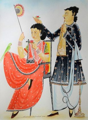 """Untitled, Watercolour & Gouache on Paper by Contemporary Artist """"In Stock"""" by Bhaskar Chitrakar, Folk Painting, Watercolor Wash on Paper, Cloud color"""
