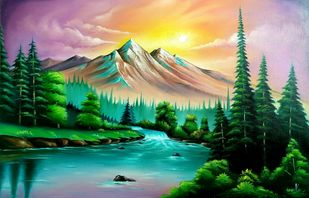 Nature by vanavil venkat, Expressionism Painting, Oil on Canvas, Everglade color