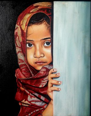 Baby by vanavil venkat, Realism Painting, Oil on Canvas, Licorice color