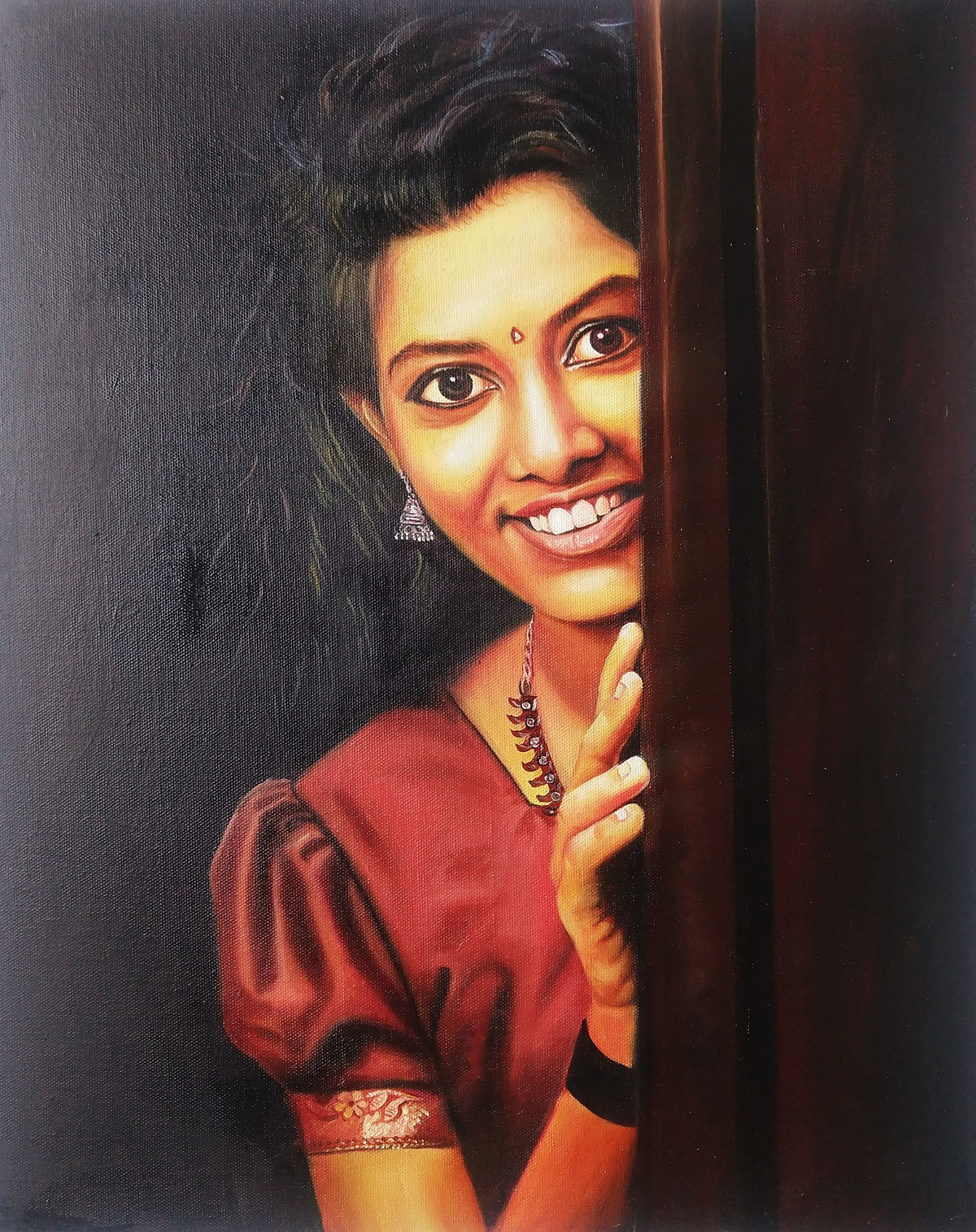 Indian girl by vanavil venkat, Realism Painting, Oil on Canvas, Thunder color