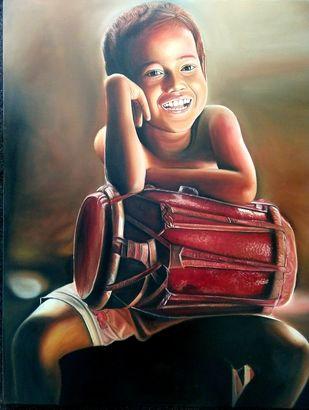 Smile by vanavil venkat, Realism Painting, Oil on Canvas, Mine Shaft color