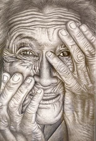 Old lady by vanavil venkat, Realism Drawing, Pencil on Paper, Zorba color