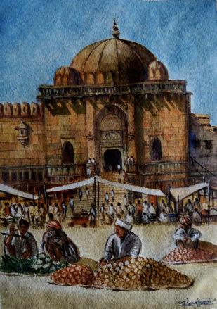MARKET TIME by Ram Kumar Maheshwari, Impressionism Painting, Watercolor on Paper, Horizon color