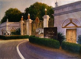 JAI-VILAS PALACE by Ram Kumar Maheshwari, Impressionism Painting, Watercolor on Paper, Pine Cone color