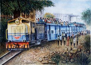 GWALIOR LIFE LINE by Ram Kumar Maheshwari, Impressionism Painting, Watercolor on Paper, Onyx color