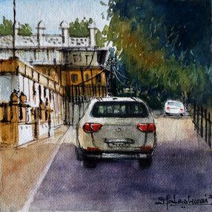 MOTI-MAHAL by Ram Kumar Maheshwari, Impressionism Painting, Watercolor on Paper, Onyx color