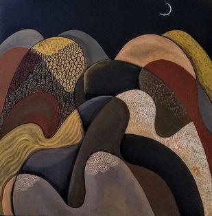 The swirling romance of Himalayan nights III by Suruchi Jamkar, Geometrical Painting, Acrylic on Canvas, Thunder color