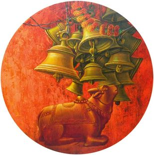 """Aradhana-31, Acrylic on Canvas by Contemporary Artist """"In Stock"""" by Anil Kumar Yadav, Expressionism Painting, Acrylic on Canvas, Piper color"""
