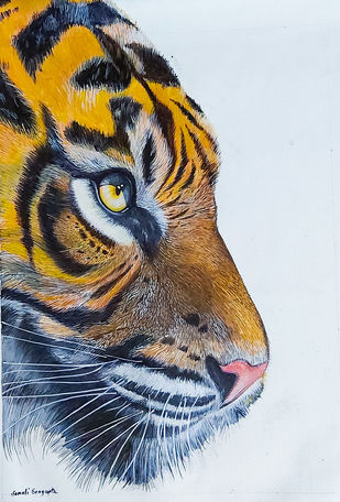 Eye of The Tiger by Sonali Sengupta, Impressionism Painting, Acrylic on Canvas, Tuna color