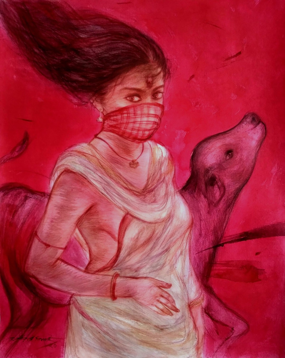 Durga 1 by Gouranga Beshai, Expressionism Painting, Mixed Media on Paper, Cardinal color