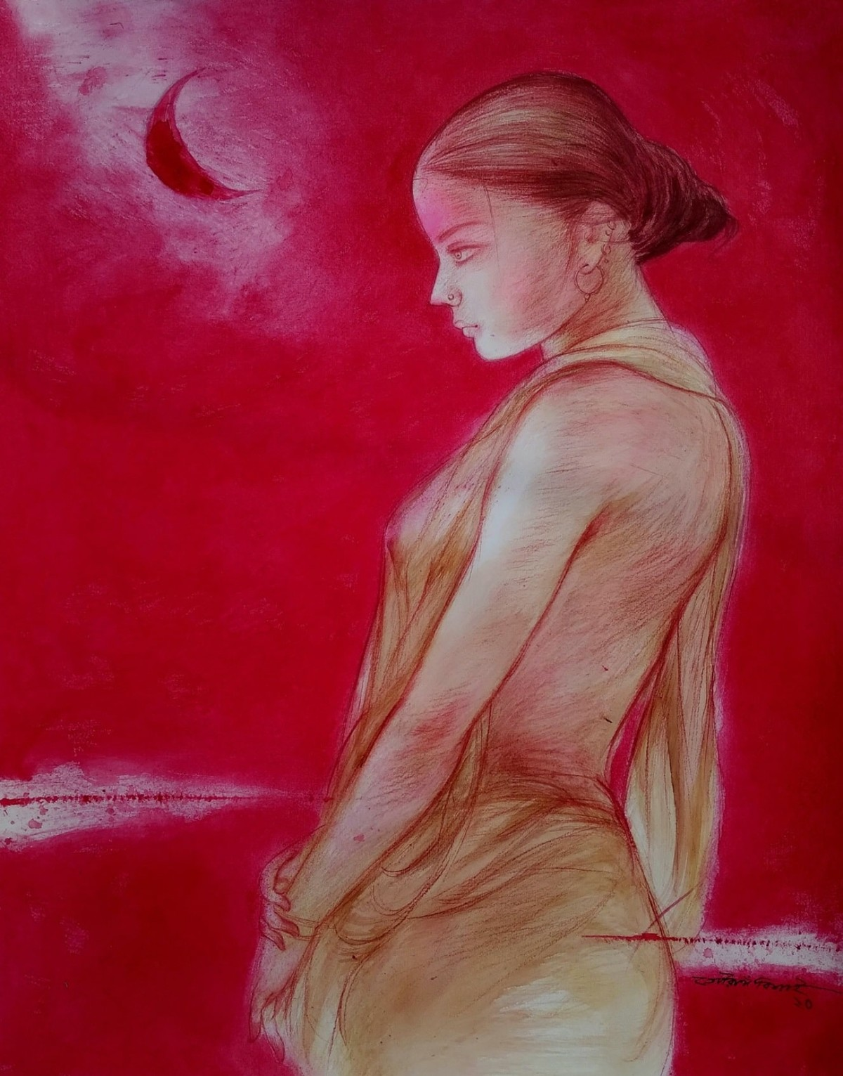 """Durga 2, Mixed Media on Paper by Contemporary Artist """"In Stock"""" by Gouranga Beshai, Expressionism Painting, Mixed Media on Paper, Tamarillo color"""