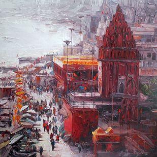Varanasi by Iruvan Karunakaran, Expressionism Painting, Acrylic on Canvas, Ferra color