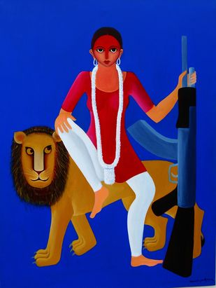 Durga-2 by Manish Upadhyay, Expressionism Painting, Acrylic on Canvas, International Klein Blue color