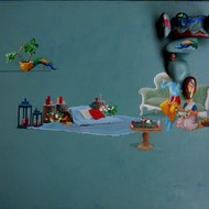 Pragnesh patel outdoor diner oil   acrylic on canvas with fiber glass 36x60 inches %282%29 min