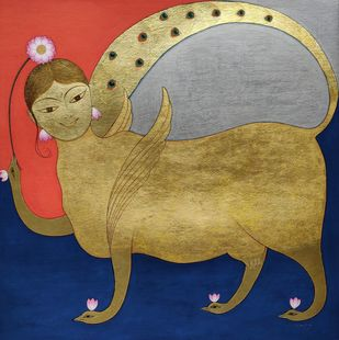 "Kamdhenu, Gouache and Gold Leaf on Paper by Contemporary Artist ""In Stock"" by Yugal Kishor Sharma, Expressionism Painting, Gouache on Paper, Barley Corn color"