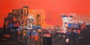 Untitled by Dnyaneshwar Dhavale , Abstract Painting, Acrylic on Canvas, Thunder color