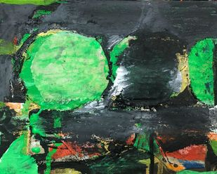 Untitled by Gurunathan, Abstract Painting, Earth pigments on handmade paper, Cape Cod color