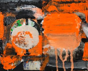Untitled by Gurunathan, Abstract Painting, Earth pigments on handmade paper, Dune color