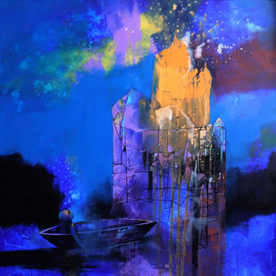 Visit by Pradip Sengupta, Abstract Painting, Acrylic on Canvas, Mariner color