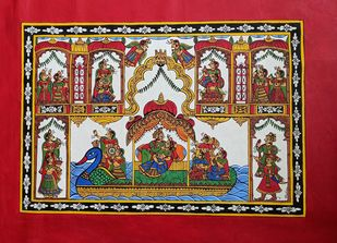 Aanand Utasav by Bhavana Saxena, Folk Painting, Paint on Canvas, Akaroa color