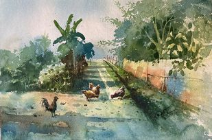 Chicken in a village. by Prashant Sarkar, Impressionism Painting, Watercolor on Paper, Battleship Gray color