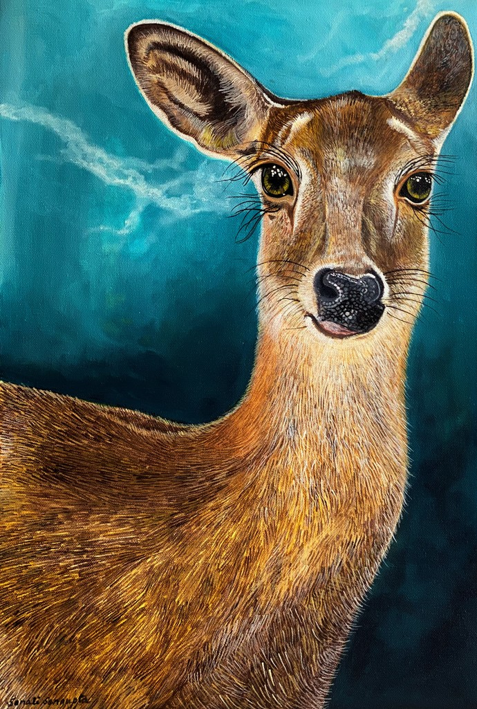 Deer by Sonali Sengupta, Expressionism Painting, Acrylic on Canvas, Antique Brass color
