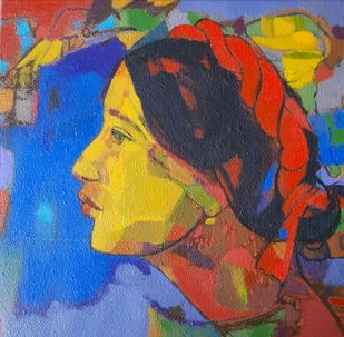 Beauty of village by Avinash Mokashe, Expressionism Painting, Acrylic on Canvas, Brandy Punch color