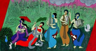 Monsoon Celebration by Chetan Katigar, Expressionism Painting, Acrylic on Canvas, Como color