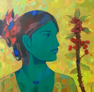 Radha with flowers by Avinash Mokashe, Expressionism Painting, Acrylic on Canvas, Genoa color