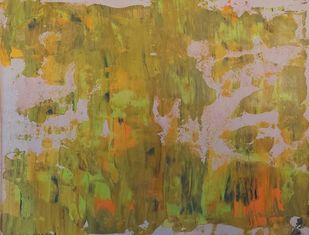 Myriad Reflections (No.16) by Mahesh Sharma, Abstract Painting, Acrylic on Paper, Orange color