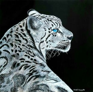 The Snow Leopard by Sonali Sengupta, Expressionism Painting, Acrylic on Canvas, Loblolly color