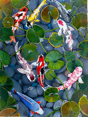 The 8 Good Luck Koi Fish by Sonali Sengupta, Fantasy Painting, Acrylic on Canvas, Mineral Green color