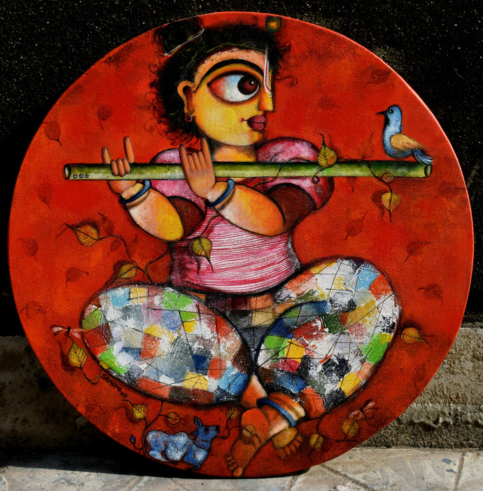 Madhav by Sharmi Dey, Expressionism Painting, Acrylic on Canvas, Licorice color