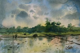 Farm by Prashant Sarkar, Impressionism Painting, Watercolor on Paper, Lemon Grass color