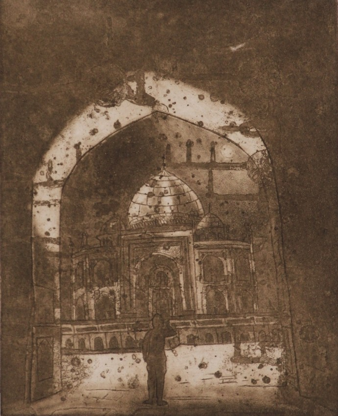 Taj in Moon light by Mohd.Rasid pathan, Expressionism Printmaking, Print on Paper, Millbrook color