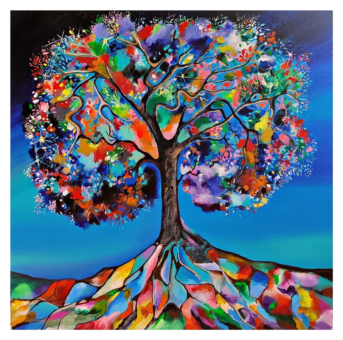 Tree Of Life by Richa Pamnani, Expressionism Painting, Acrylic on Canvas, Antique Brass color