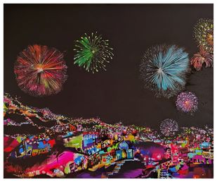 Lights of Celebration II by Richa Pamnani, Expressionism Painting, Acrylic on Canvas, Cocoa Brown color