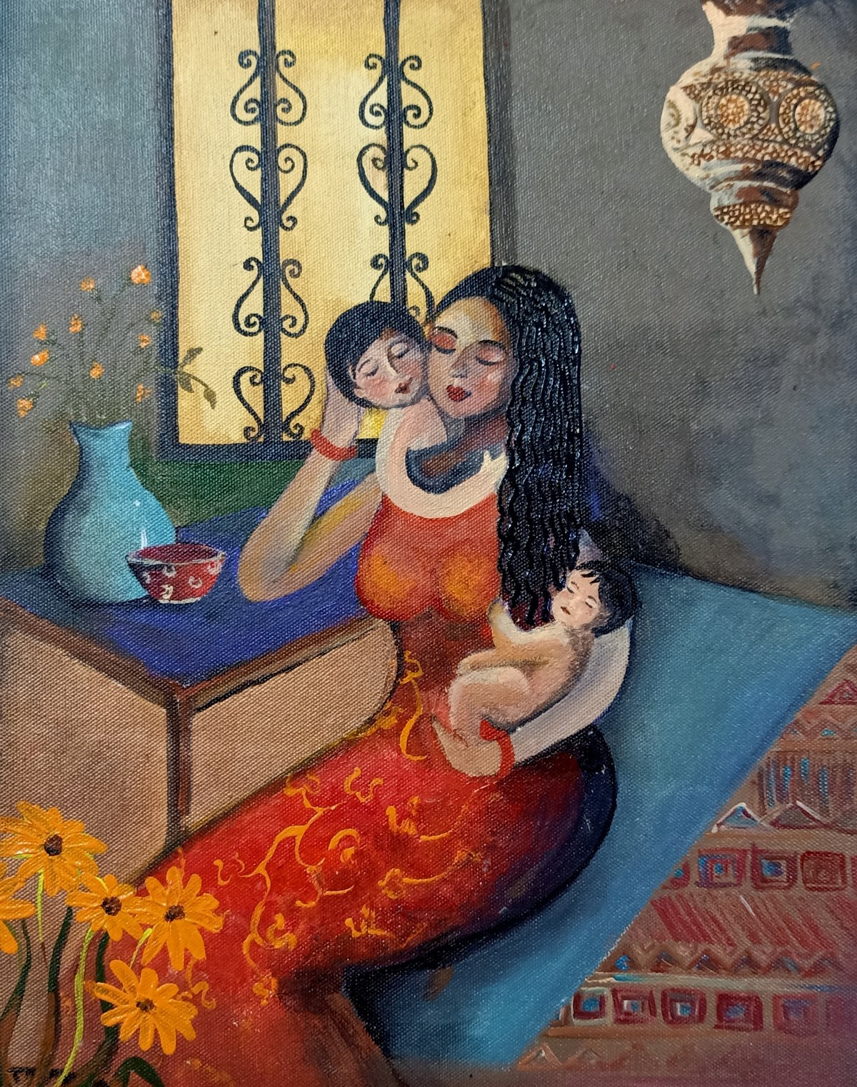 Pampering by Swati Chavan, Expressionism Painting, Acrylic on Canvas, Flint color