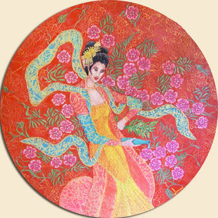 KANNON'NO ODORI by PRAVEEN RAI, Expressionism Painting, Oil and acrylic on Canvas, Contessa color