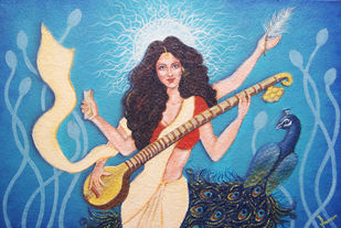 SARASWATI! by PRAVEEN RAI, Expressionism Painting, Oil and acrylic on Canvas, Cameo color