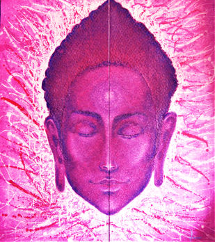 SYMMETRY by PRAVEEN RAI, Expressionism Painting, Oil and acrylic on Canvas, Carousel Pink color