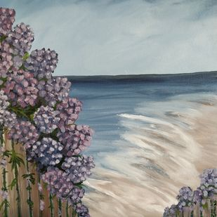 Beachside House with Hydrangeas by Gitika Singh, Expressionism Painting, Acrylic on Canvas, Green Spring color