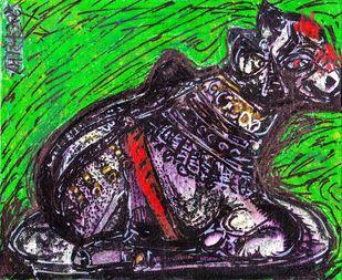 Nandi - The Bull by Saumya Chakraborty, Expressionism Painting, Acrylic & Ink on Canvas,