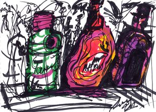 Intoxicated by Saumya Chakraborty, Expressionism Painting, Ink on Paper, Baltic Sea color