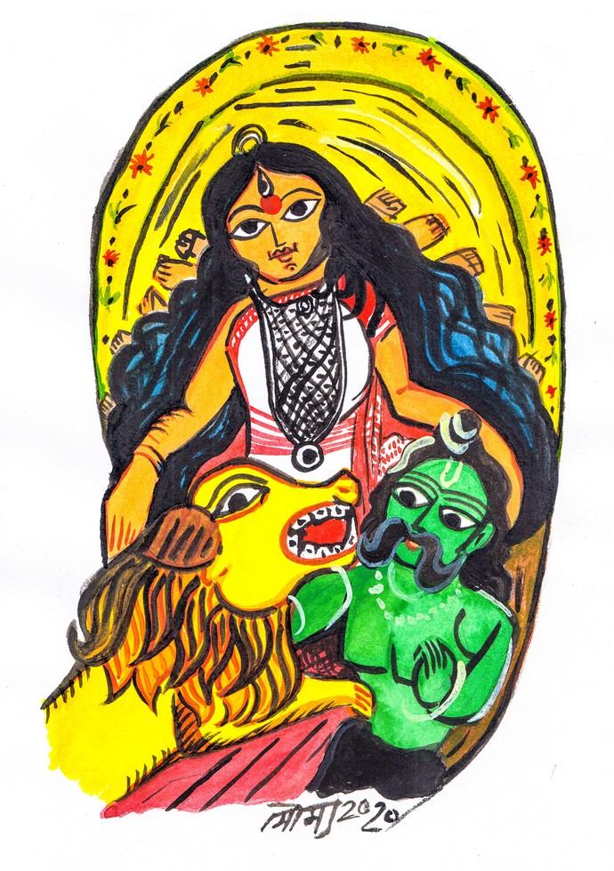 Bramhani - Shantadurga by Saumya Chakraborty, Expressionism Painting, Watercolor on Paper, Baltic Sea color