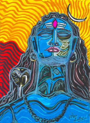 Yogeshwar Shiva by Saumya Chakraborty, Expressionism Painting, Pen & Ink on Paper,