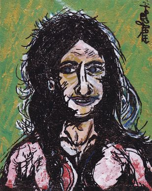 Portrait Mystic by Saumya Chakraborty, Expressionism, Pop Art Painting, Acrylic & Ink on Canvas, Cold Turkey color