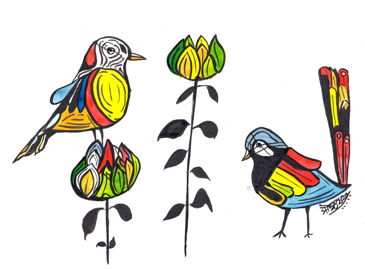 Birds of the same feather Digital Print by Saumya Chakraborty,Pop Art
